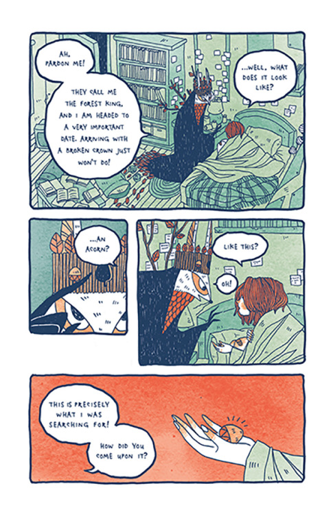 oncomics:  mai-nyu:  Coral and the King, Part 1 Read Part 1 Here Read Part 2 HereRead Part 3 HereRead Part 4 Here Ta-da! Now you can read my really old comic I did many moons ago. It's my first complete comic, so it has its faults, and it's a little depressing and the dialogue may not be as logical or flowy as it could be but I put a lot of heart into it, so I hope you enjoy it u-u Also, I'll be selling 30 hand-bound copies of this comic at APE in SF! (They are signed and numbered and I probably won't print these ever again because wow so old) So if you liked it, and would like one on your bookshelf, you should buy one! *u* (also sorry for blurry images, indesign did a sucky export job and fixing 40 pages is too much work for me ._.)  I think I like this.