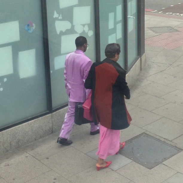Natty lilac velvet suit on the Brixton Road.  (at Brixton)