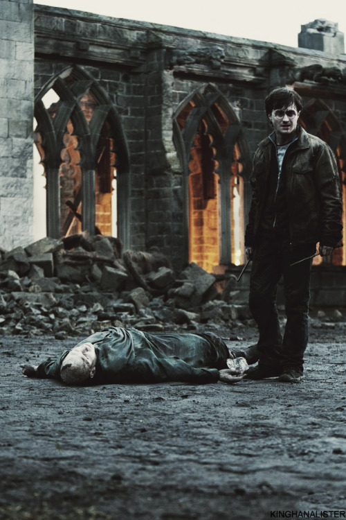sluttyfinnick:   Tom Riddle hit the floor with a mundane finality, his body feeble and shrunken, the white hands empty, the snakelike face vacant and unknowing. Voldemort as dead, killed by his own rebounding curse, and Harry stood with two wands in his hand, staring down at his enemy's shell.