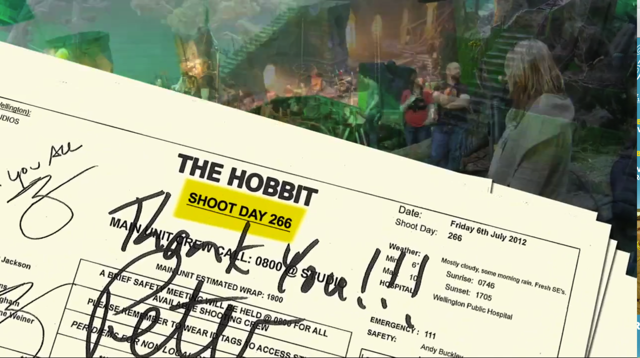 "One tidbit from this new video of behind the scenes at ""The Hobbit"": they shot exactly as many days for the new trilogy as for the original ""Lord of the Rings"" trilogy. And they shot a lot.      See the whole video here:  http://www.deadline.com/2012/12/hobbit-unexpected-journey-featurette-behind-the-scenes/"