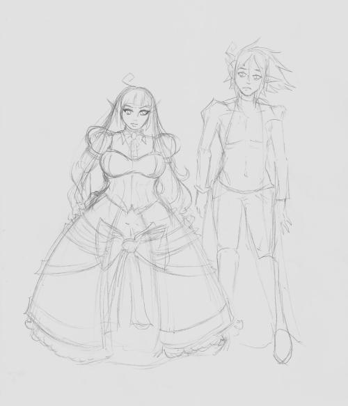 The sketch is rough as fuck, but some brother-sister fun and height comparison