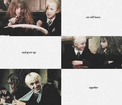 AU: dramione+classes seated together
