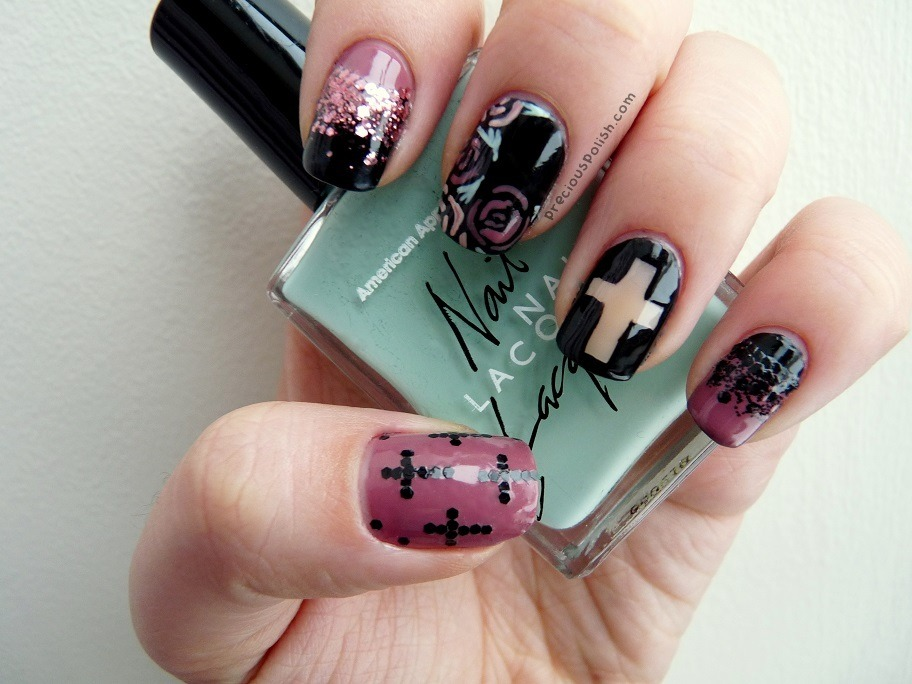 "preciouspolish:  roses ✝ crosses ✝ glitter ""Romantic Rebel"" on preciouspolish.com"