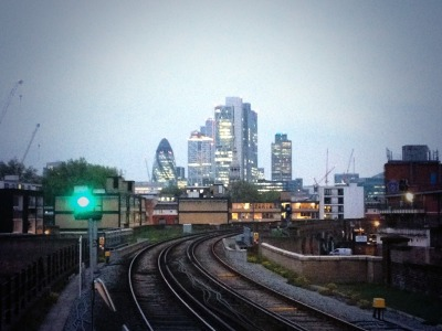 view of the city from Hoxton station