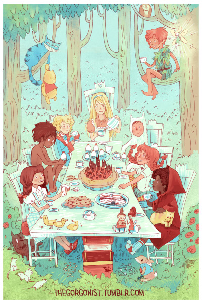 Kid Lit Tea Party  Let's all go join our childhood friends! This was a commission from last September, I believe—for a professor teaching a kid lit class who wanted something special to put up in her classroom and use on her materials. Can you name everyone here? (The mice are all-purpose mice who could be from NIMH, etc.) I think if we watched this scene for a few more minutes, Arietty and Little My would try riding the ducklings like little boats <3