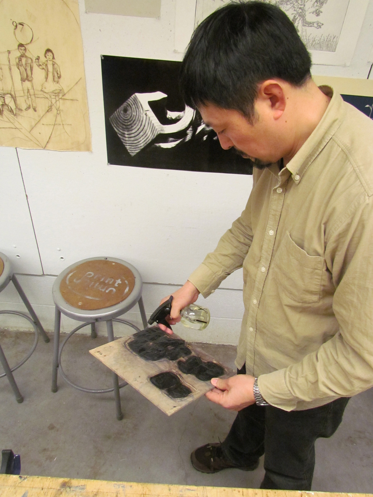 printstamps:  Artist Fang Limin Workshop with Witt Visiting Artist Fang Limin in water-based relief block printmaking at Stamps Print Studios. Using Fang's blocks, some 40+ prints were printed and each impression uniquely hand-colored by students, faculty and staff.