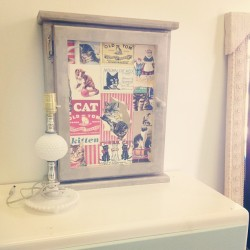 Cabinet re-do. Gold spray paint and kitty paper!! A cutey cupboard now ! #upcycle #cat #vintage