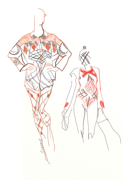 Fashion illustration for the Yosef Fashion show of Gindi Tel Aviv Fashion week by Shira Barzilay