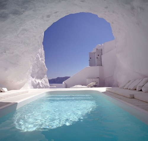Natural Cave Pool, Santorini, Greece photo via sheila