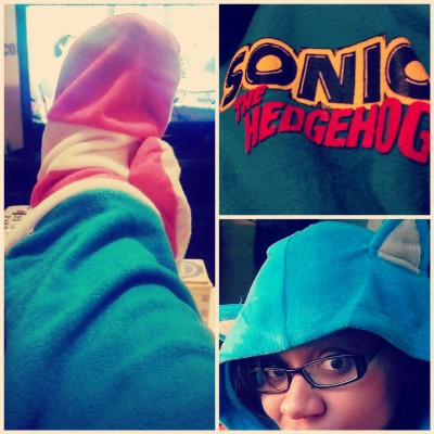 In love love love with my cozy new Sonic the Hedgehog hooded pjs!