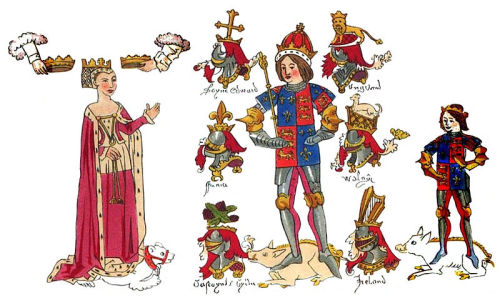 Contemporary illumination (Rous Roll) of Richard III, his queen Anne Neville whom he married at York in 1472, and their son Edward the Prince of Wales