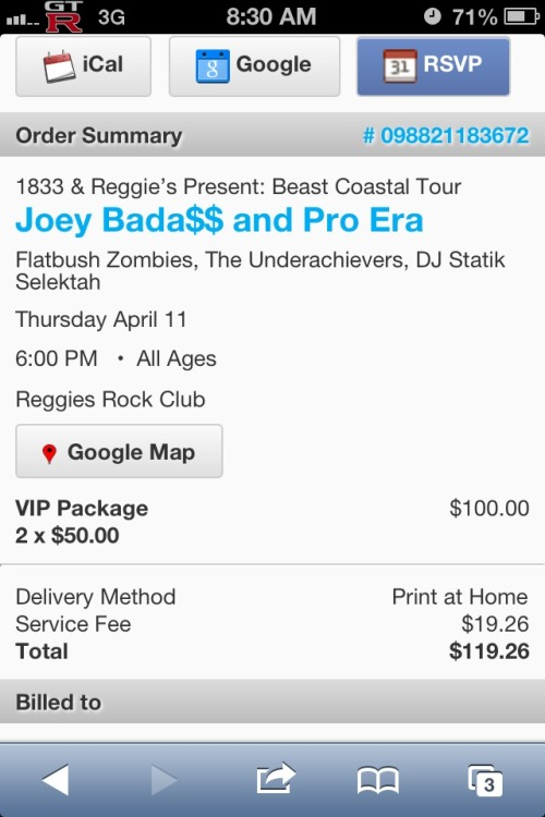 Got my VIP tix to see Pro Era in Chicago!