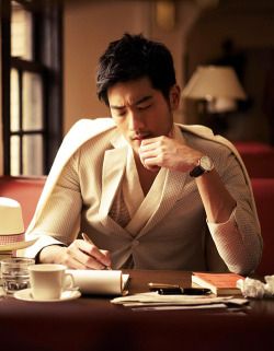 Godfrey Gao for GQ Taiwan April 2013   Today in… MY FUTURE HUSBAND: This lets say… Engineer who met me in Europe when I was trying to find all the architectural beauties of France. We fell in love over our admiration of the Louvre and he's currently trying to learn Spanish for when I take him home to meet my mother…