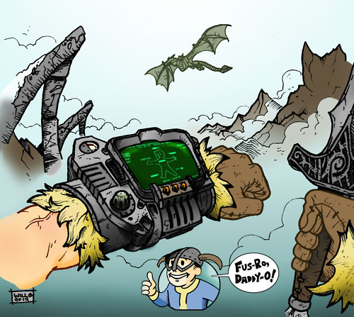 willgioviink:  Skyrim Pipboy 3000 I sometimes wish that Tamriel had Pipboy 3000s, just so I can listen to Galaxy News Radio while killing dragons all over Skyrim… (Pencil & Ink/Colored in Photoshop)