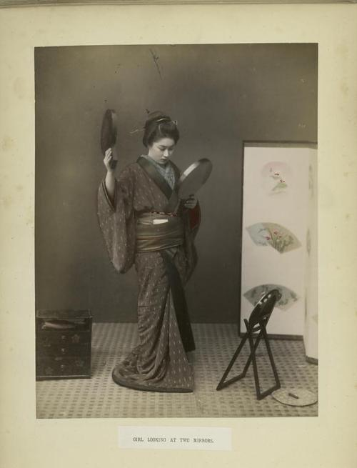 lostsplendor:  Reflection, Japan c. 1870s via The New York Public Library