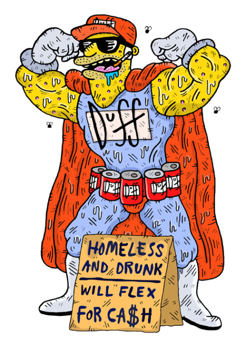 samtaylorillustrator:  Flex for Cash Twitter / Instagram / Website    Duffman…can't pay!