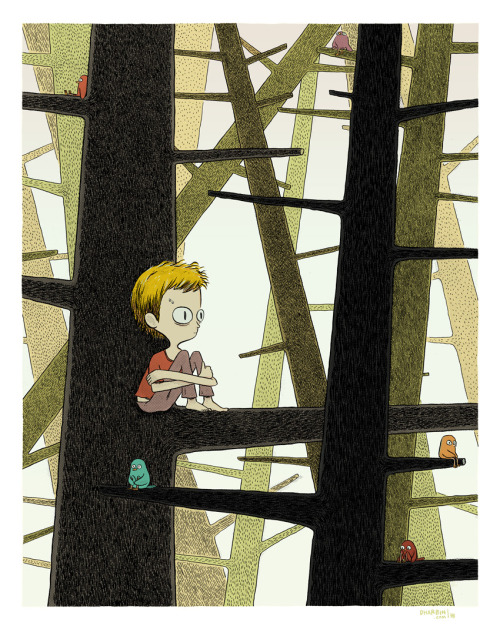 dharbin:  IN THE WOODS.  New fancy-dan giclee print, limited to a signed edition of 50, here. Update: I'm selling the original here.