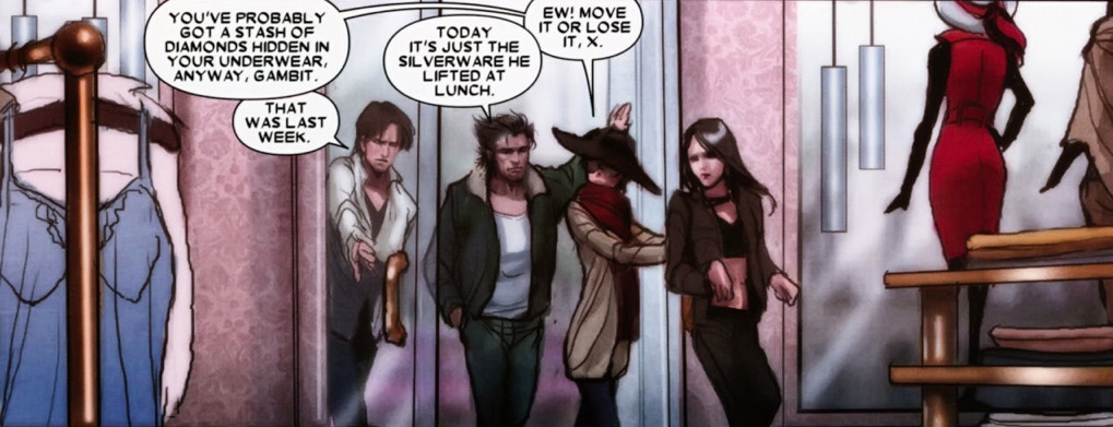 sassyvigilantes:  X 23 #11  Imagining forks and spoons in Gambit's underwear is killing me <3