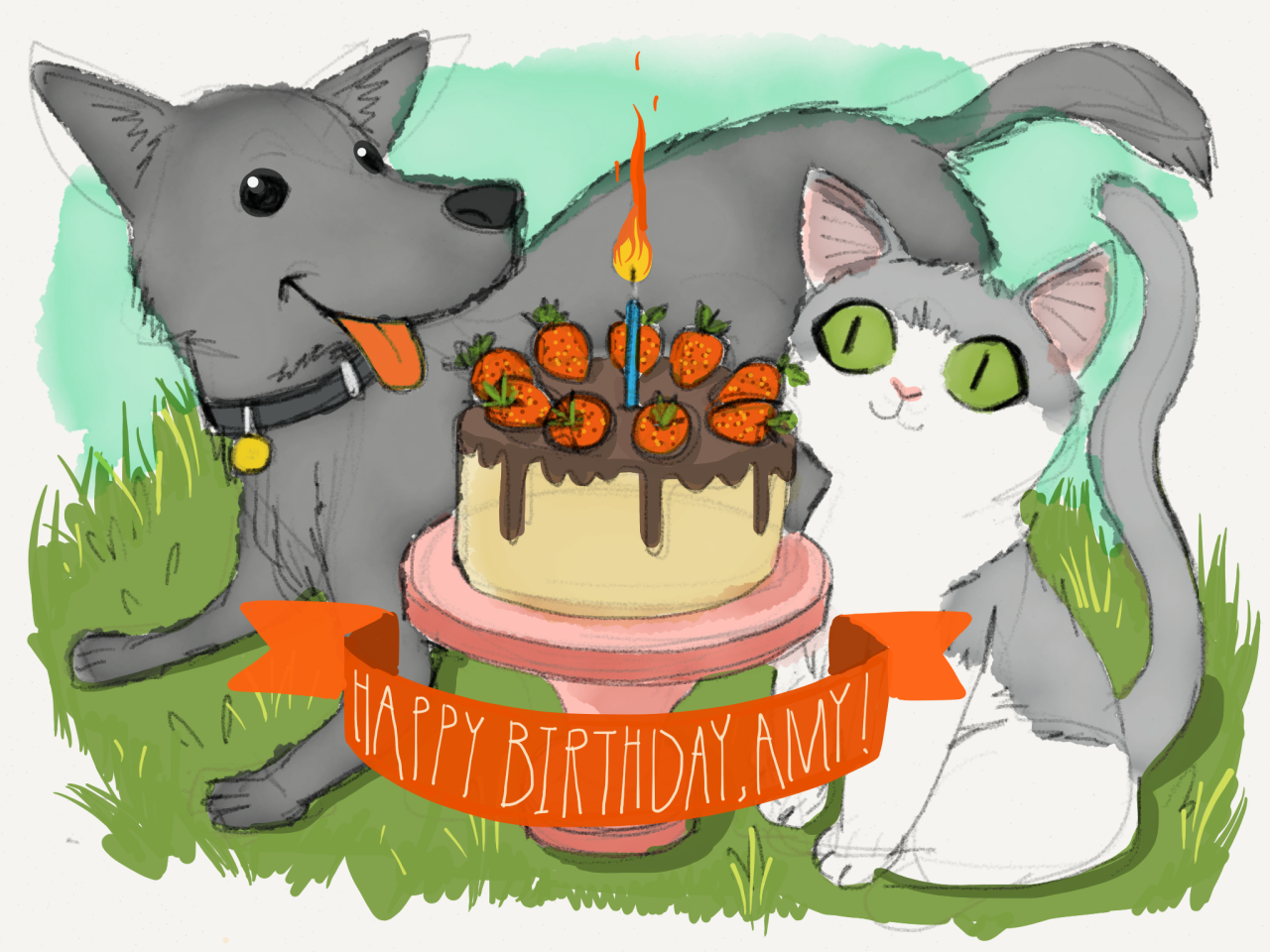 "happy birthday  Happiness is a dog and a cat. It's an illustration created by your coworker with the app you love with all your heart. It's a sunny day in Brooklyn and a ""blackberry red wine chocolate cake with strawberries on top"" inspired by love & olive oil. madewithpaper:  Happy birthday to the amazing Amy Cao, who keeps this Tumblr blog fresh with inspiring work and makes us smile with her vibrant charm. Here's to another year on Earth with you, Amy! Made With Paper by FiftyThree designer Allen Lau."
