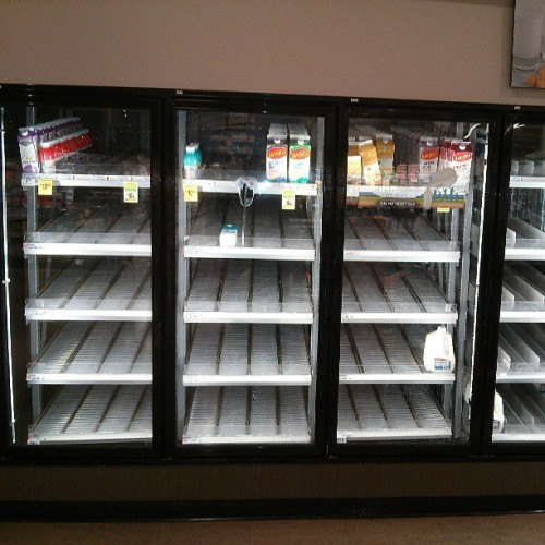 Slim pickings: Safeway's dairy case at 10:00 PM on a Monday night.