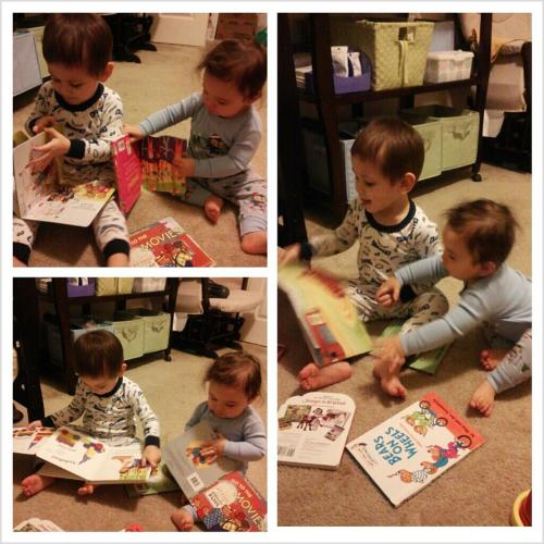 Reading some bedtime stories =)