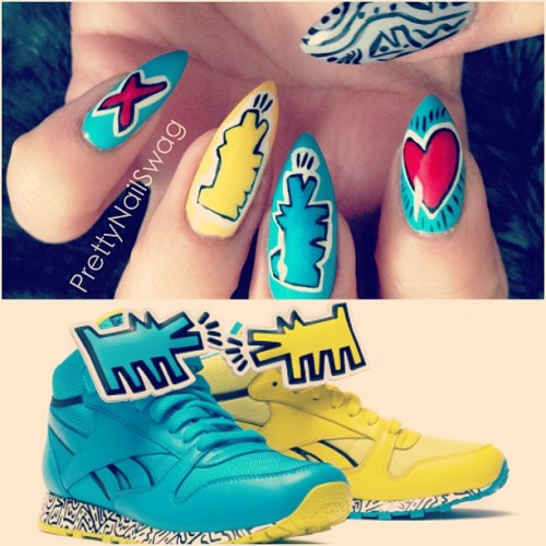 Inspo from the Reebok x Keith Haring 2013 collection collab. #ForMyNailArtLovinSneakerHeads