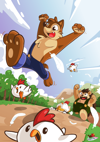 Chicken RUN!!  Another guest artist picture by Coffgirl for Wuffle book 1. Let's catch all the chickens! XD  Only 54 hours left to pre-order the book : http://www.indiegogo.com/wuffleyear1