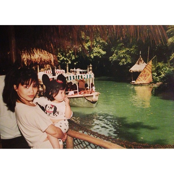 aimeellove:  Mama and me at the World Famous Jungle Cruise. 😍 #disneyland #junglecruise #totally80s #throwback (at Jungle Cruise)