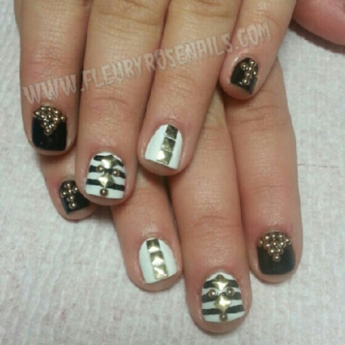 Stripes and studs! ! #nails #nailart #naillife  (at Tomahawk Salon)