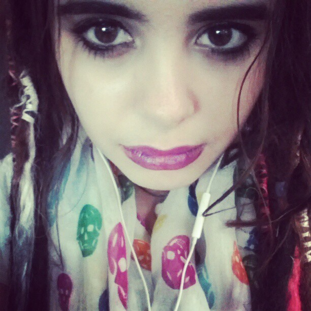 Long day :c but i looked cute c: purple lips and my new favorite scarf :3