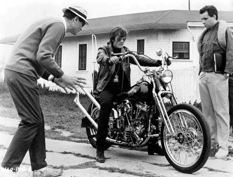 Director Roger Corman works out a scene of The Wild Angels with Peter Fonda, observed by assistant Peter Bogdanovich.  My heart broke when I saw this in the documentary. He's talking about director Roger Corman, who - fortunately - is still alive. Corman was one of the first people to trust Nicholson's talent for acting, welcomed him in his 'factory' and offered him his first role as a protagonist in The Cry Baby Killer.  Nicholson made his film debut in a low-budget teen drama The Cry Baby Killer, in 1958, playing the title role. For the following decade, Nicholson was a frequent collaborator with the film's producer, Roger Corman. Corman directed Nicholson on several occasions, most notably in The Little Shop of Horrors, as masochistic dental patient Wilbur Force, and also in The Raven, The Terror, and The St. Valentine's Day Massacre.