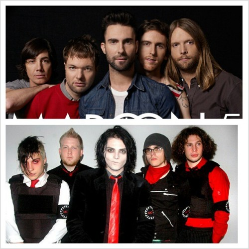 Maroon 5- My favourite pop band. I actually love them, which is surprising considering I hate pop music. And pop culture in general. But I'm not a hipster. Gah, anyways, these guys don't even sound like pop, they're amazing, and they don't get half as much credit as they should, because of the way pop is looked down upon. But they're really good. If you're like me and hate pop, still check them out, especially their old songs. They're really good♥ My Chemical Romance- My favourite band….. ever. Period. I love other bands a lot, but none can compare to My Chem. I've only really started listening to them at like the first of last year, but since then they've actually helped me through so much. I know this sounds really really cheesy, but they're actually amazing. Listening to their songs always puts me in a great mood. They have some sad songs, happy songs, and some that are not serious at all, they're just so fun and silly ! Gerard's intense singing, how Mikey and Frank are so in sink. And Ray is so cool about everything. Mike's almost intimate drum beats. They all just come together to create something so beautiful that I just can't stop listening. I didn't realize they meant so much toe, until I heard the news that they broke up. I thought they were just a band that I loved more than any other. But when they split up…. I actually cried. Hard. I didn't think I would, but I did. I listened to their music and got so sad. I was thinking about how they wouldn't be making more music, and how my dream of seeing them live would never come true. It broke my heart into a million pieces. I still get sad about it, but I understand that they had to go seperate ways and do different things, and I get that. I love you Gerard Way, Mikey Way, Frank Iero, Ray Toro, Mike Pedicone♥ #mychemicalromance #maroon5 #gerardway #mikeyway #frankiero #raytoro #mikepedicone #mychem #adamlevine #MCR #love #bands #favourite #weu #mylife #iloveyou #bye