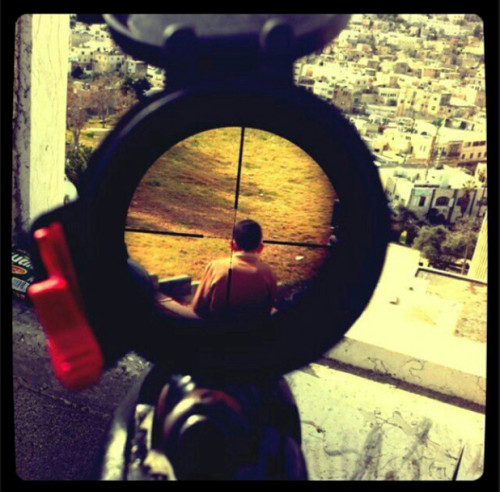 wristwatchesareneat:  stephenclark:  Israeli soldier posts Instagram of Palestinian child in crosshairs of rifle  This bullshit has been confirmed. I cannot be any clearer — what Israel is doing to the Palestinians is so very wrong, and to say so is not anti-Semitic.  Horrible.