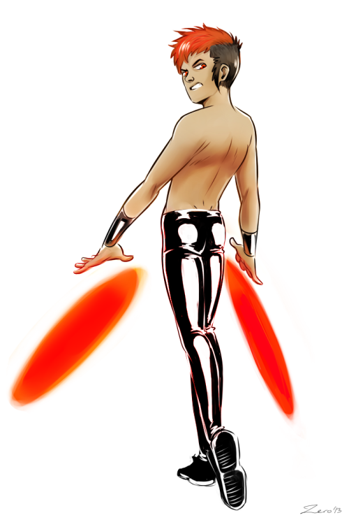 I just really wanted to draw some shiny pants. Also, he's supposed to have some flame-disc superpowers or something idk. It's what the glowy discs are anyways.