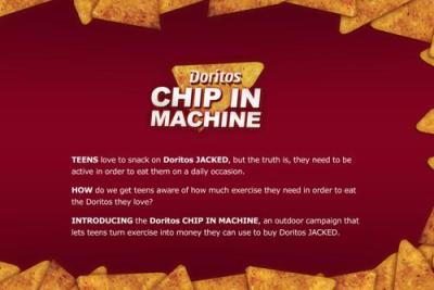 lymphonodge:  DORITOS® CHIP IN™ MACHINE mobilized by Teen Energy, DORITOS® JACKED™ ENCHILADA SUPREME Flavor Granules extruded