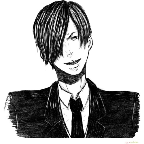 "oujiandthensome:  Demos you so handsome with yo suit and yo ""You wanna die, punk?"" face  *u* omg"