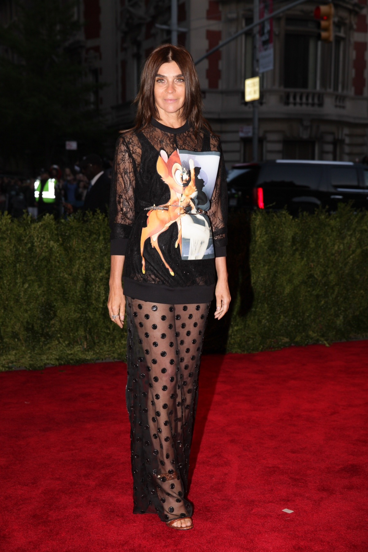 CHAOS TO COUTURE Carine steps out in Givenchy by Riccardo Tisci for last night's punk-themed Met Gala [[MORE]]  Photography Julian Mackler/BFAnyc.com