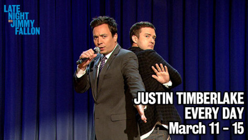 BIG NEWS: Late Night with Jimmy Fallon will have Justin Timberlake on the show every day for a week. And guys, we've got some great things planned.