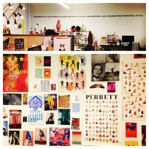 Beyond the screen, the offices of #refinery29. Printed on their wall '@refinery29 is a place for discovering, empowering, and celebrating personal #style.' How #cute lol and below is their #mood and #inspiration wall