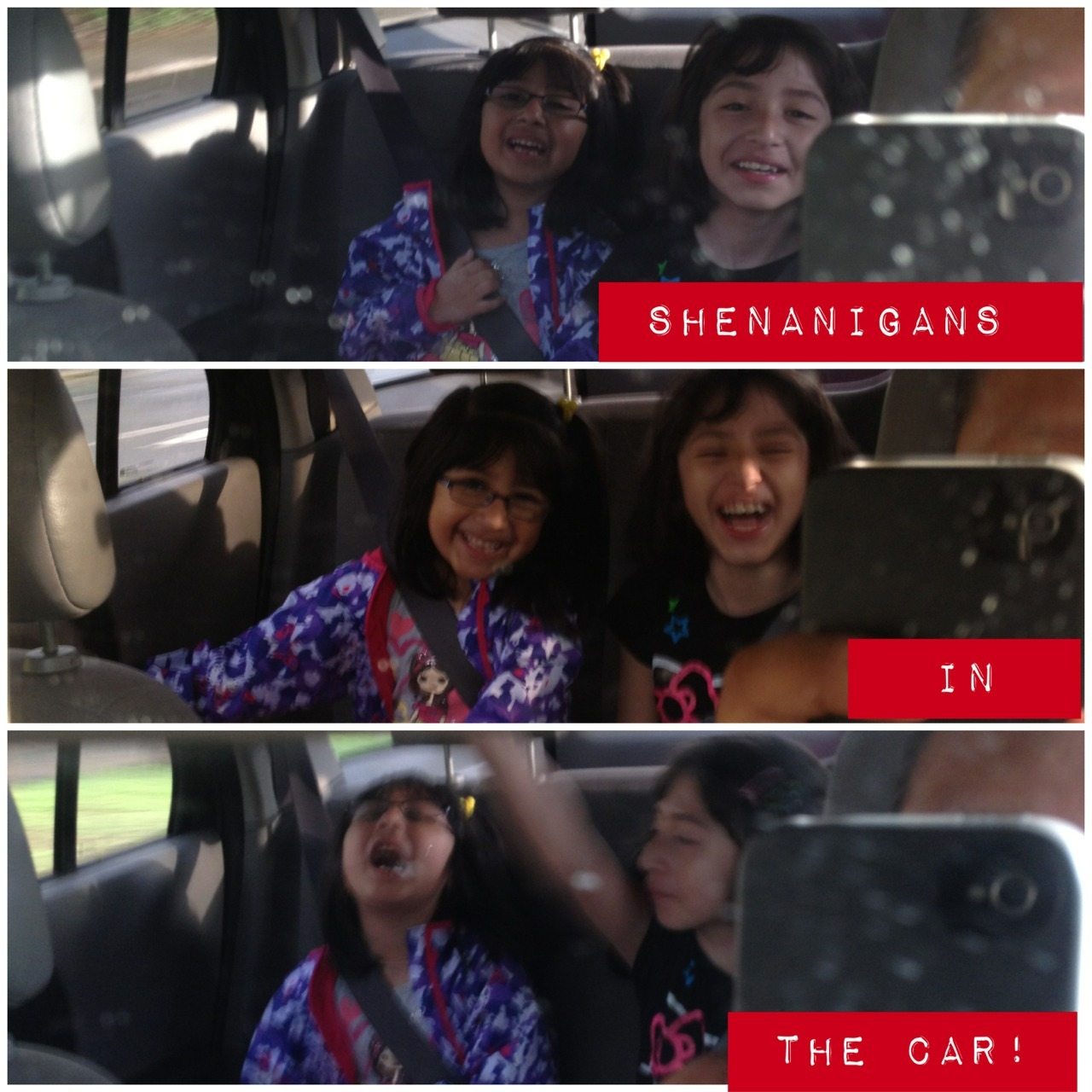 Shenanigans in the car. How young #strongmujeres get down. ;) #onmyfamilygrind