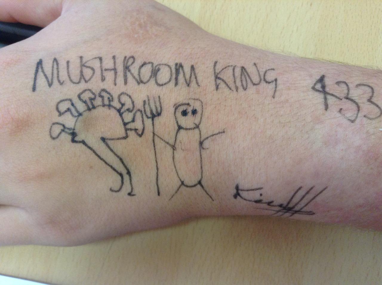 """Mushroom King 433"". Pen on llama ankle, 1829. Donated by His Royal Highness Mushroom King. Message from His Royal Highness Mushroom King:  ""This photograph depicts Merrill, who was, at the time, pregnant with sextuplets. It should be noted that Hubert chose to draw this photograph on a llama ankle due to the shortage of business cards in the area during the time. Hubert was always the sensible, resourceful one among us; he was always able to make things happen using only the materials at hand."""