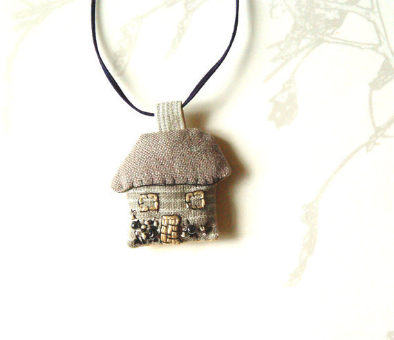 (via My Little House Pendant Tiny House Fiber Art by BozenaWojtaszek)