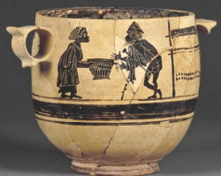 Boeotian black figure skyphos bowl, decorated witht he loom of Circe (or Kirke, the daugher of Helios, the god of the sun, and Perse, and Oceanid, and the sister of Aeetes - King of Colchis and the keeper of the Golden Fleece, Perses, and Pasiphae: the Wife of King Minos and mother of Minotaur). She is shown with Odysseus, King of Ithaca, husband of Penelope, father of Telemachus, and son of Laertes and Anticlea. circa 450 b.c.