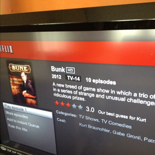 Netflix best guess for me is that I'd like myself only 3/5 stars. (Oh BUNK is on Netflix!)