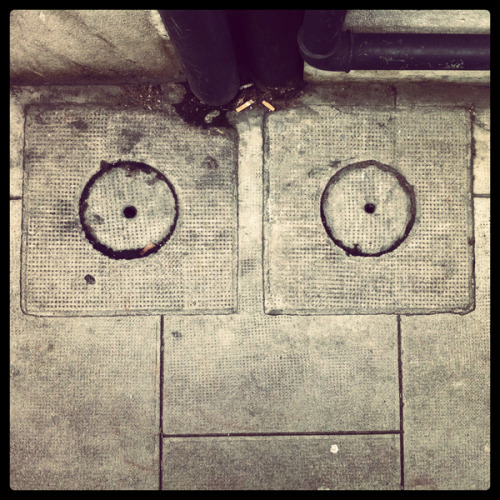 ianbrooks:  Street Faces by Aurélien Fontanet When you laugh, the world laughs with you. Often times literally with creepy faces that appear to be built in to the surrounding sidewalks, walls, and devices. Quietly they watch, judging… contemplating some secret fate that is yet to befall you and fostering a perverse pleasure in not being able to warn you (they are inanimate objects after all, they can't talk, you know. You're probably just imagining things anyways).  Artist: Behance