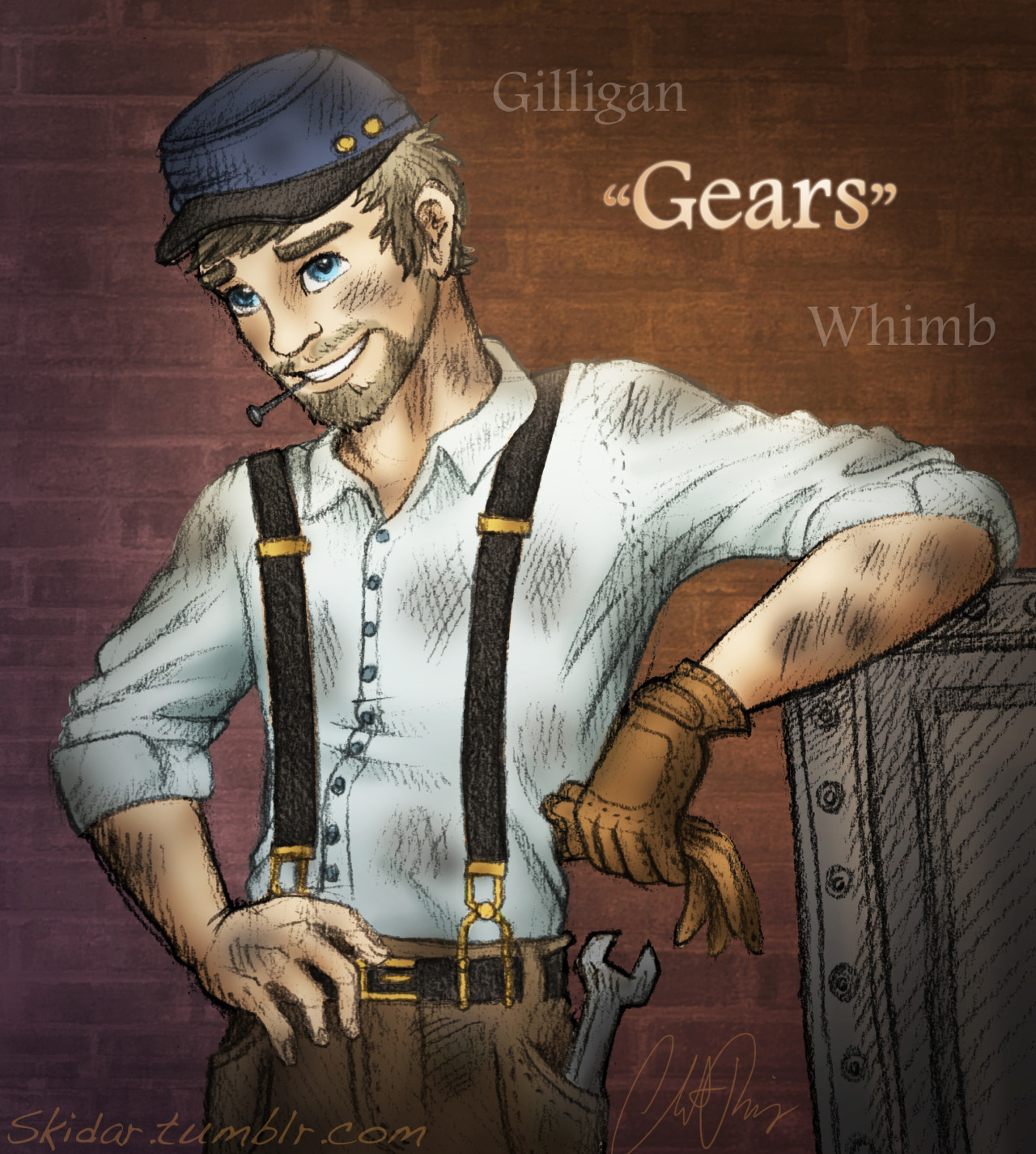 "skidar:  Gilligan ""Gears"" Whimb Humanized -Christine Ridgway/Skidar I humanzied Gears! And is it just me or did he get cuter? ;) My mom says he's more cute as a human but eh, I like mouse-y Gears too :P My lil' factory worker guy <3 Rockin' the suspenders and the union cavalry cap.   GEARSSSS my babbyyyyy <3 He's beautiful"