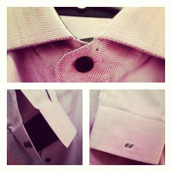 Lavender Herringbone Shirt with Black Details by Franc Lloyd - Custom Menswear
