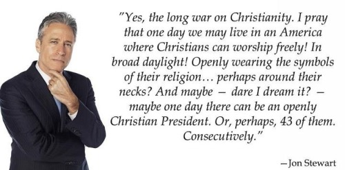 "proud-atheist:  Jon Stewart on the ""War On Christianity"" http://proud-atheist.tumblr.com"