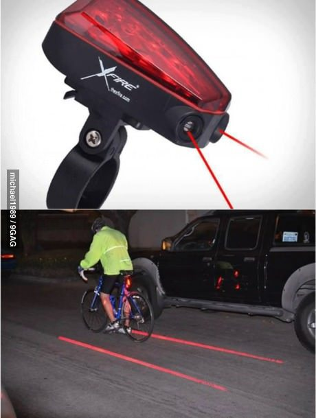 9gag:  XFire Bike Lane Safety Light