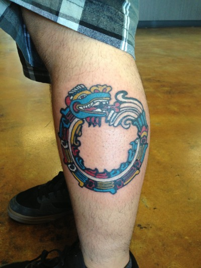Mayan ouroboro  Done by Nate Tower Tattoo in Fresno, CA